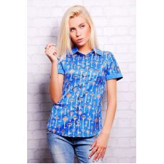 Синий-ключики блуза Деним к/р NCG9915