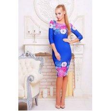 Цветы синий платье Лоя-1 д/р NCG9956
