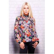 Цветы на черном блуза Лекса 1 д/р NCG10660