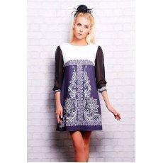 Кружево черное платье Тая-1 (шифон) д/р NCG10605