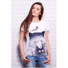 Мишка с птичкой футболка Кимоно NCG10613