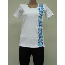 Футболка женская Голубая роза вышивка интерлок NCL644