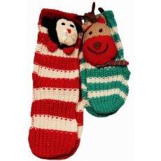 Вязаные носки-тапочки, микс