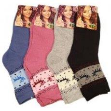 """Махровые женские носки """"BFL"""" В356 с оленями"""