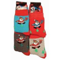 """Махровые женские носки """"Дед мороз"""", микс Украина"""